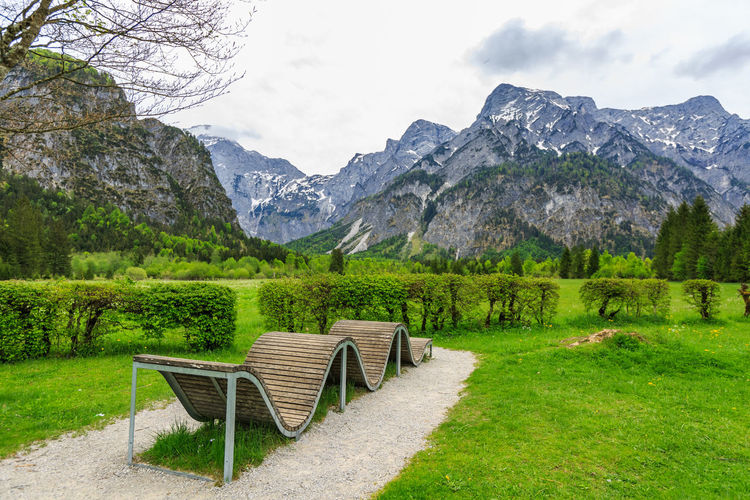 Almsee Beauty In Nature Bench Day Environment Grass Green Color Idyllic Land Mountain Mountain Range Nature No People Non-urban Scene Oberösterreich Outdoors Plant Scenics - Nature Seat Sky Tranquil Scene Tranquility Tree Upperaustria