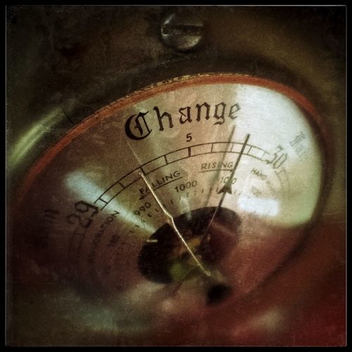 """A barometer showing """"Change"""". Close-up Day Gauge Guage Indoors  Instrument Instruments No People Number Text Weather"""
