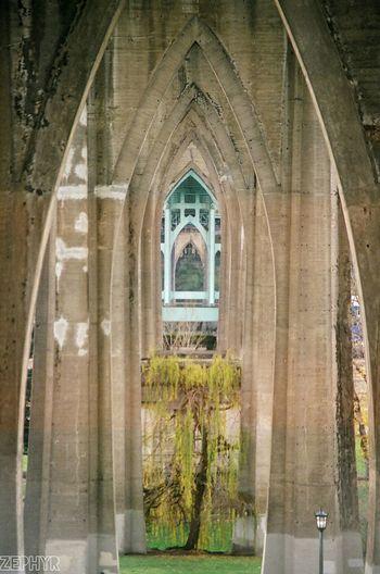 35mm Film Arch Architecture Built Structure Canon AE-1 History Oregon Portland St. John's Bridge Tunnel