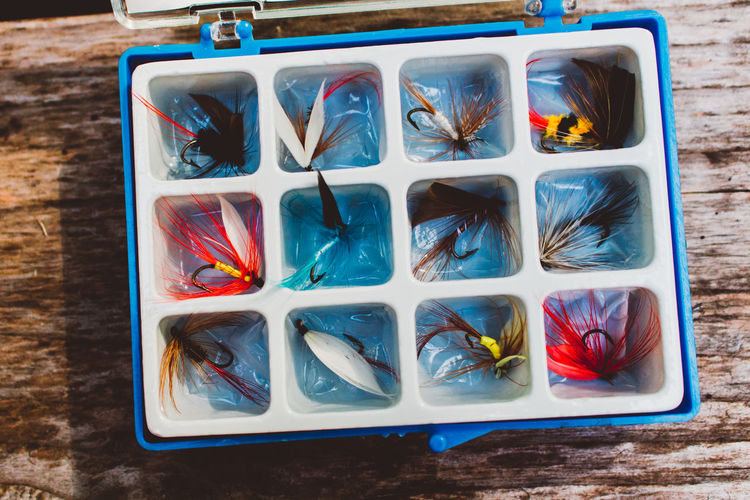 Close-up Colorful Day Fisherman Fly Away Fly Fishing Equipment High Angle View Multi Colored No People Tackle Tackle Box Tray Variation