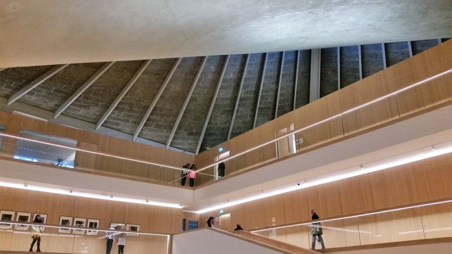 Awesome Architecture London Modern Architecture Architecture Building Built Structure Ceiling Convenience Design Design Museum Kensington Enjoying Life Exhibition Fun Place  High Ceilings Illuminated Indoors  Modern Railing Staircase Steps And Staircases Wood - Material