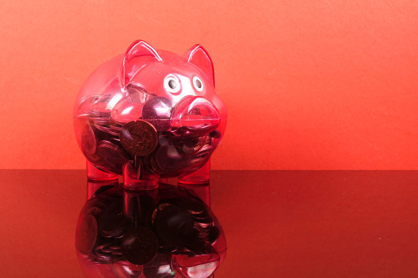 Saving concept with red piggy bank on red background. Piggy Bank Animal Representation Art And Craft Close-up Coin Colored Background Conceptual Photography  Container Creativity Glass - Material Indoors  Investment Jar Mammal No People Piggy Bank Red Representation Saving Concept Still Life Studio Shot Table Toy Transparent Wall - Building Feature