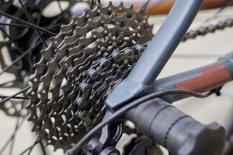 High angle view of bicycle spoke