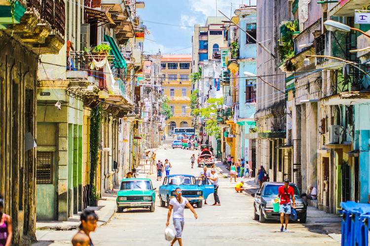 Cuba Building Exterior City Architecture Built Structure Street Group Of People Building Real People Residential District Women Crowd People City Life Day Transportation Nature Adult Outdoors Men Neighborhood Place Cuba Havana