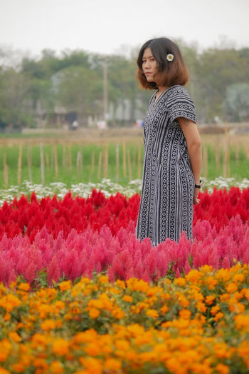 Woman standing on field by red flowering plants