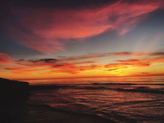 Sunset Beauty In Nature Horizon Over Water Sea Beach Sandiego California