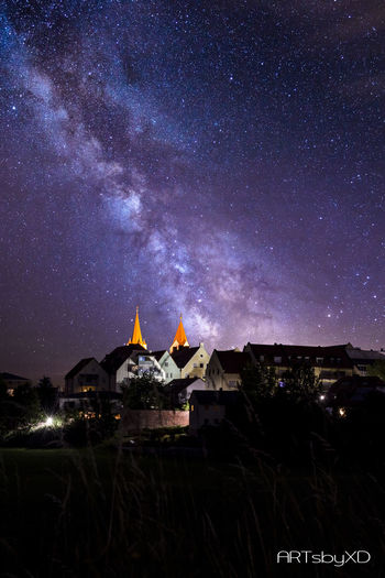 My hometown at night Milky Way Star - Space Night Astronomy Galaxy Landscape Outdoors Nature Constellation Beauty No People City Travel Destinations Sky Space Scenics ARTsbyXD Star Field Star Trail Beauty In Nature Sommergefühle