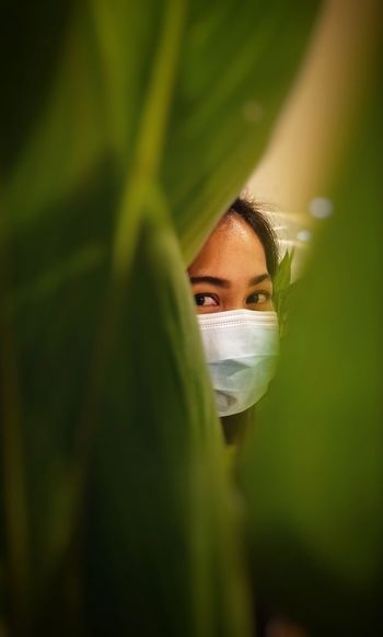 Close-up portrait of woman wearing mask seen through leaves