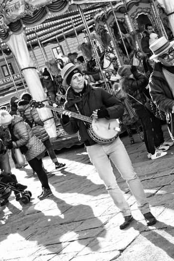 Street Entertainment Banjo Player City Men Shadow Togetherness Sunlight Street Crowd Low Section