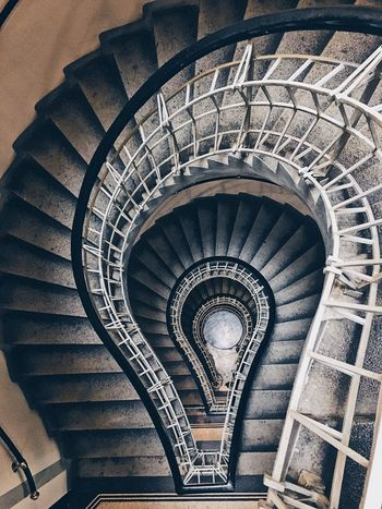 Black Madonna Prague Spiral Staircase Steps And Staircases Railing Steps Architecture Built Structure Spiral Stairs High Angle View Stairs
