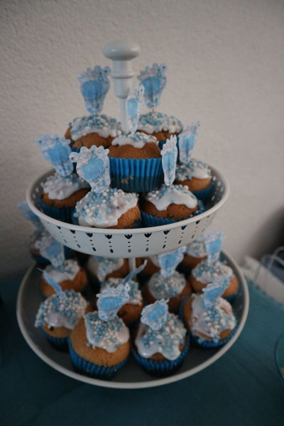 Babyshower Celebration Cupcakes Sweet Food Babyshower Baby Boy Blue étagère Pregnant Dessert