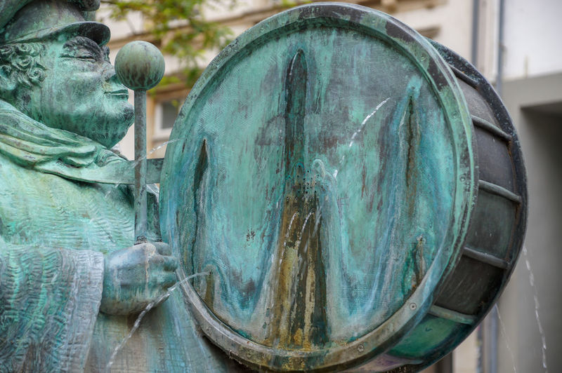 A Fountain in Luxembourg Close-up Focus On Foreground Sculpture Day Creativity Statue Craft Outdoors Old Weathered Architecture Green Color Built Structure Turquoise Colored Fountain