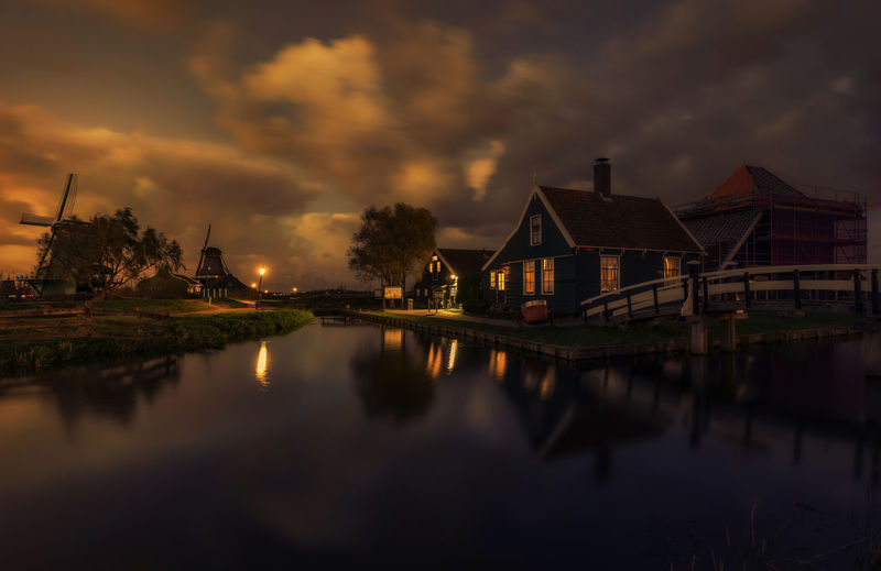 2017 Blue Hour EyeEm Best Shots Reflection Remo SCarfo Windmills Winter Architecture Beauty In Nature Building Exterior Built Structure Cloud - Sky Clouds Day Dutch Holland House Nature No People Outdoors Reflection Sky Still Water Sunset Water