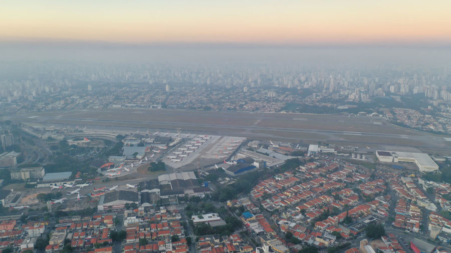 Aerial view of airport in city