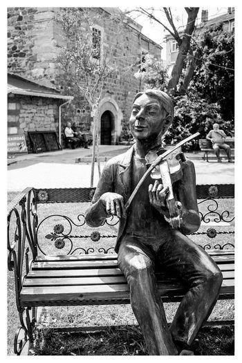 violin player Black & White Blackandwhite Travel Photography Streetphotography Statue at Ertugrul , Tekirdağ in Turkey