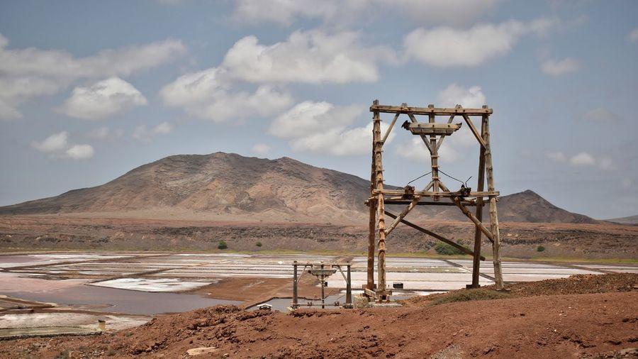 Salt mining equipment in the landscape