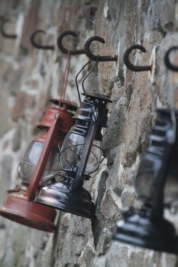 Close-up Day Glass - Material Hanging Illumination Lanterns No People Old Fashioned Three Lanterns Wall