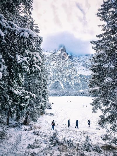 People on snow covered field by rocky mountains against sky