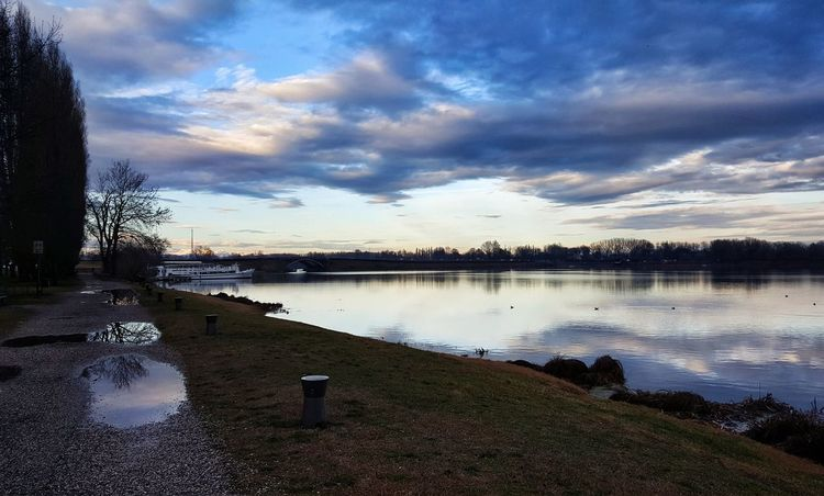 Reflection Sky Cloud - Sky Sunset Water Tree Outdoors No People Nature Beauty In Nature Day Blue Sky Mantova Lake View Hanging Out First Eyeem Photo Taking Photos Hello World Check This Out Beauty In Nature Landscape Nature Lake Sunlight Mantua