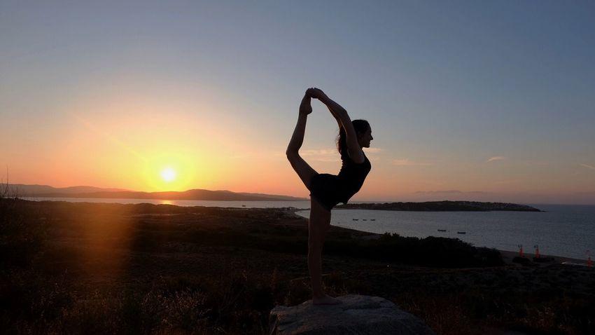 Gymnastics Exercising Sunset Yoga Balance Water Sea Flexibility Nature Sky Tranquility
