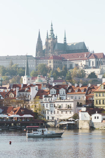 Building Exterior Architecture Built Structure Water Building City Residential District Transportation Nautical Vessel Sky River Waterfront Day No People Nature Place Of Worship Mode Of Transportation Town Travel Destinations Cityscape Outdoors TOWNSCAPE Prague Prague Czech Republic