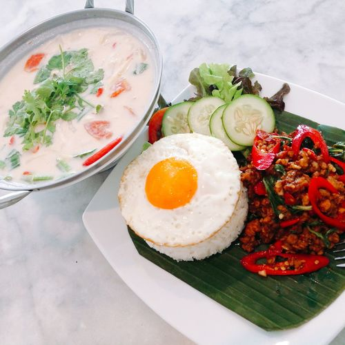Ricebowl Lunch Spicy Food Thaifood Healthy Eating Delicious Yummy Meal Foodie Coconut Soup Tomkhagai Holy Basil  Egg Yolk Fried Egg Egg Yolk Fried Egg Plate Drink Egg Breakfast Close-up Food And Drink Served Rice - Food Staple Serving Size Prepared Food Ready-to-eat Starter