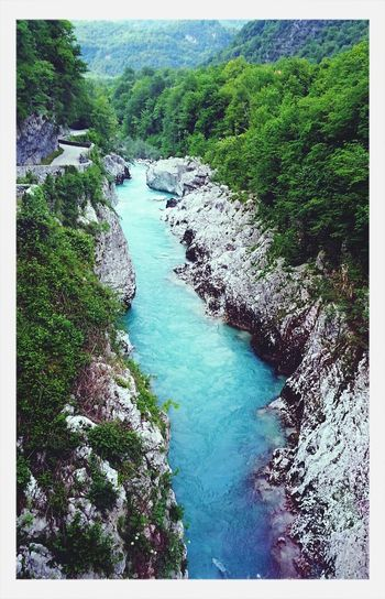 Crystal clear water in River Soča... River View