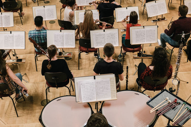 High angle view of people playing musical instruments