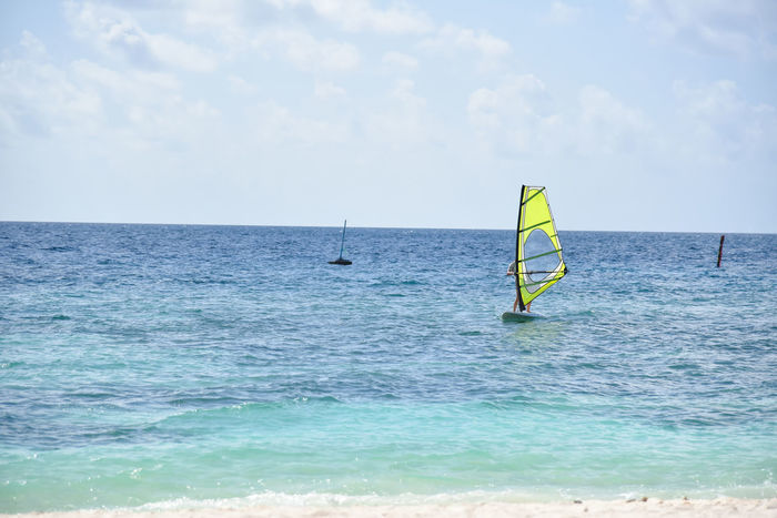 Adventure Beach Blue Cloud - Sky Extreme Sports Freedom Happy Happy Time Horizon Over Water Landscape Maldives Nature Sand Sea Sea And Sky Seascape Sky Sport Summer Suumer  Tourism Tranquility Travel Water Windsurfing