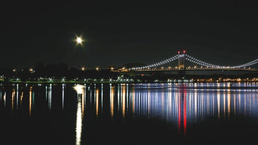 Reflection Of Illuminated Bridge In Lake At Night