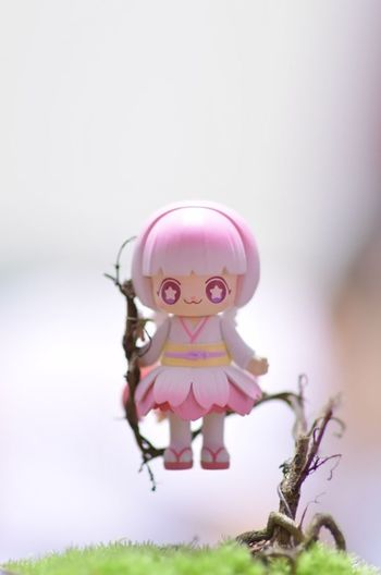 Close-up of pink toy against tree