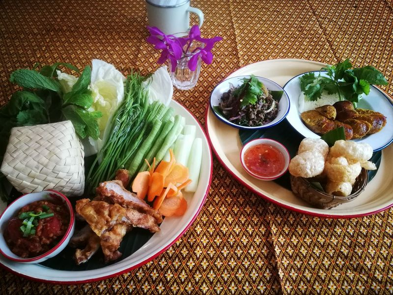 Thai Norther Thai Food Eating Food Healthy Eating Freshness Table Meal Spicy Thai Food Yummy :) Food And Drink Plate Healthy Lifestyle