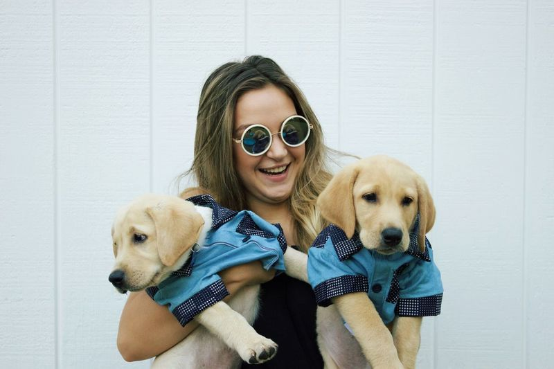 Smiling Woman In Sunglasses Holding Dogs Against White Wall