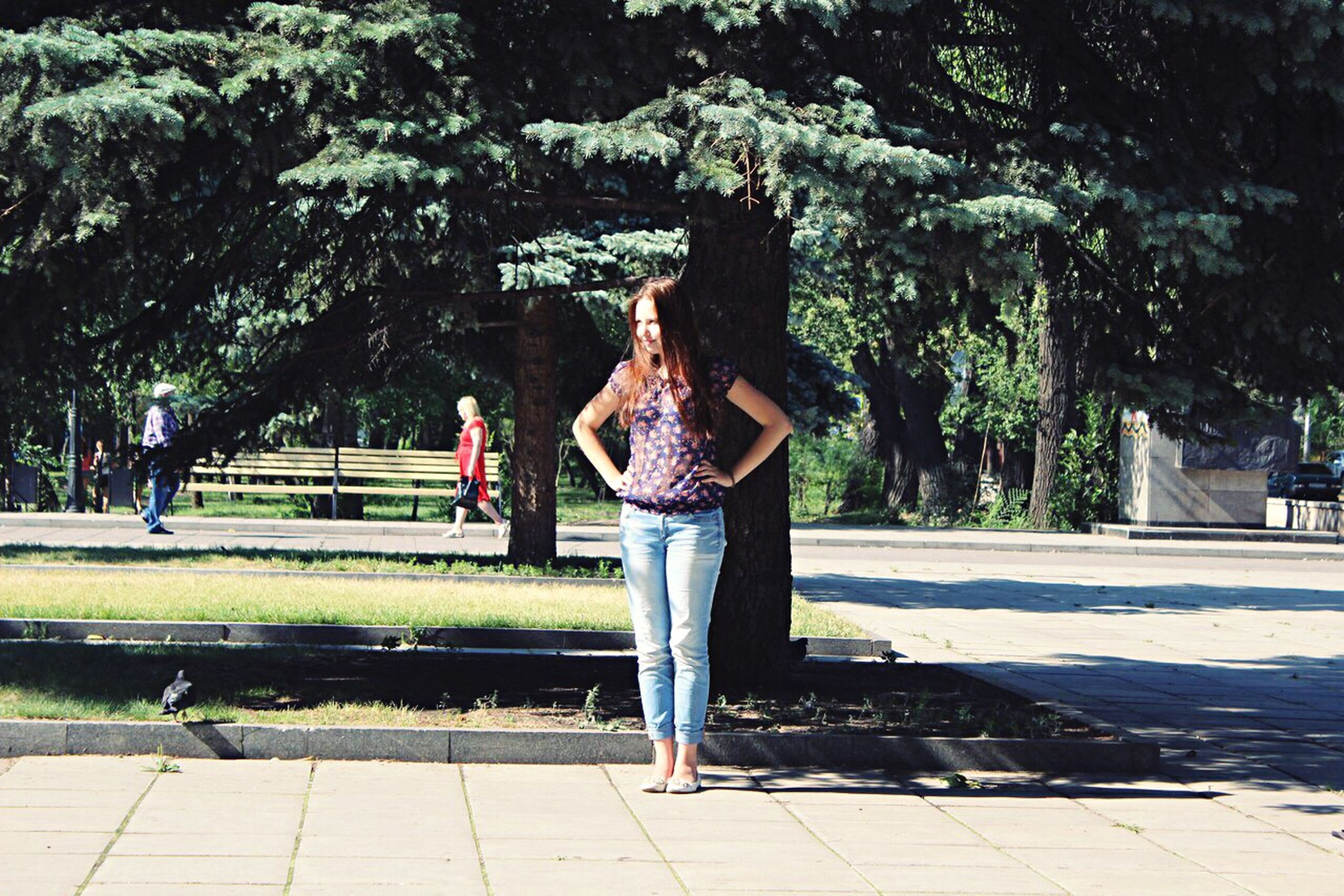 full length, tree, park - man made space, outdoors, casual clothing, young adult, one person, women, only women, young women, one woman only, people, nature, adults only, adult, day, one young woman only