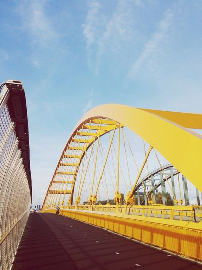 Architecture Built Structure Sky Bridge - Man Made Structure Outdoors City Connection Day No People Cycling Sunny Day Happiness Yellow Iron - Metal Bridge Industrial