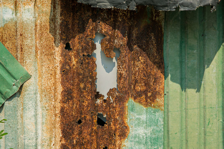 Full frame shot of old rusty metal