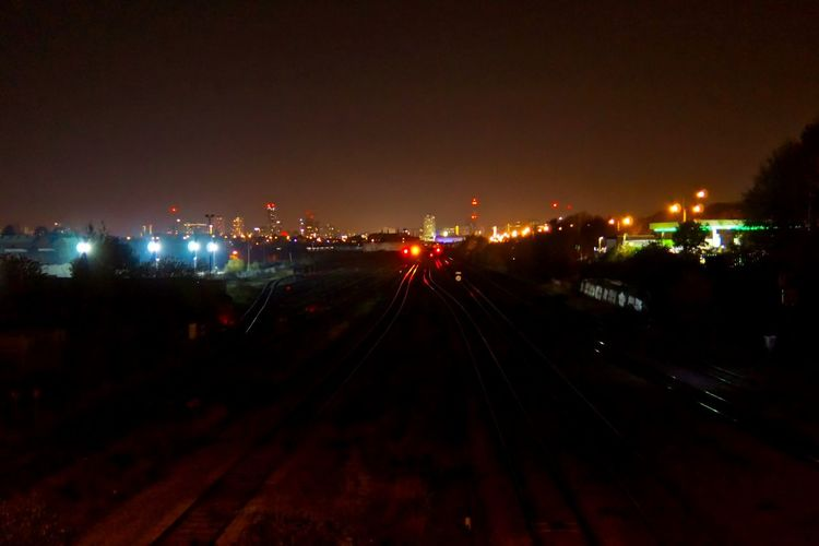 City Illuminated Night No People Outdoors Sky Trainline Transportation