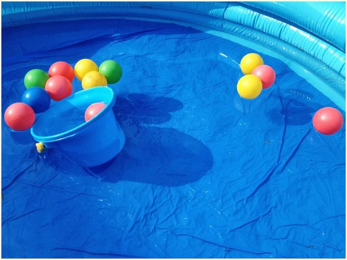High angle view of balloons in swimming pool