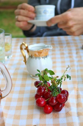 Coffee Time Cherry Old-fashioned Human Hand Healthy Lifestyle Fruit Table Close-up Food And Drink