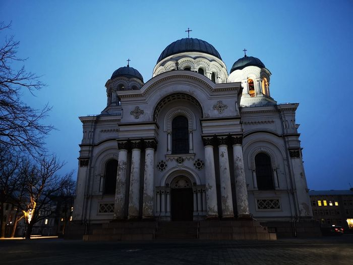 St. Michail curch in the evening Politics And Government City Dome Illuminated Architectural Column Blue History Sky Architecture Building Exterior Arch Cathedral Cupola Christianity Church Archway Historic Colonnade