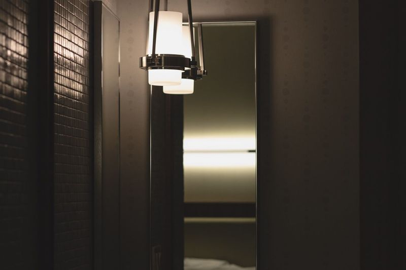 Illuminated Lamp In Corridor