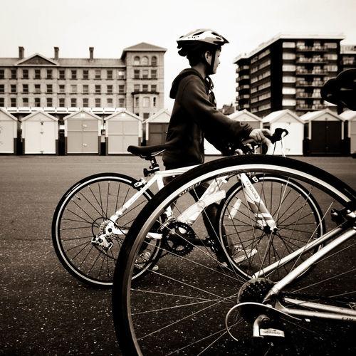 Beach Huts Bike Brighton Brighton Walk Bycicle England Paula Puncher Pushing Bike Along Sepia Sepia Photography Wheels