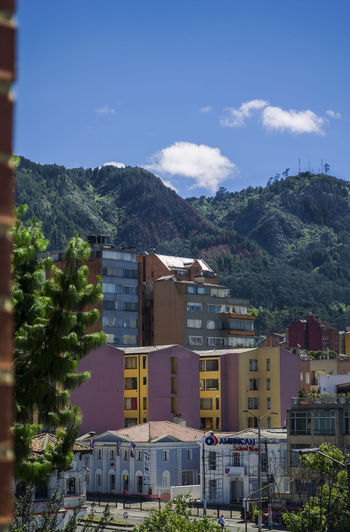 Buildings with mountains in background