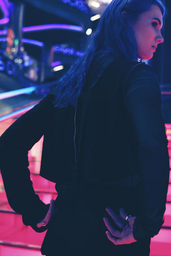 Fashion Ladder All Black Everything Black Look Blue Hair Fashion Photography Female Female Model Neon Neon Lights Night One Person Original Style Real People Rear View Standing Women Young Adult Young Women