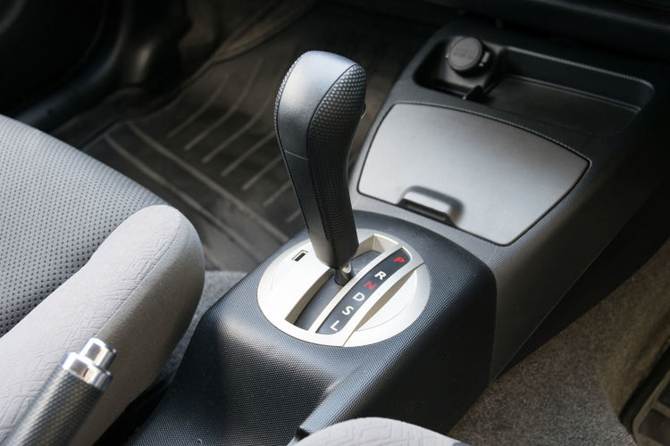 High angle view of gearshift in car