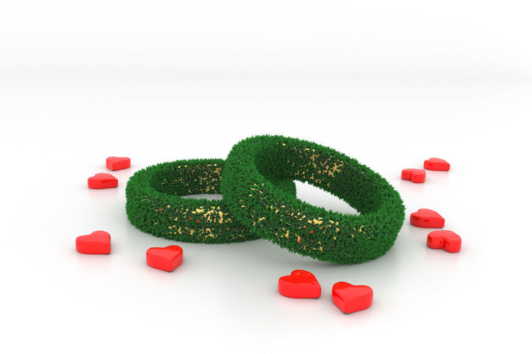 3D 3d Rendering Grass Nature Plant Wedding Close-up Communication Copy Space Creativity Cut Out Food And Drink Green Color Green Marriage Indoors  Love Marriage  No People Positive Emotion Red Shape Still Life Studio Shot Sweet Sweet Food Symbol Symbolism Text Western Script White Background