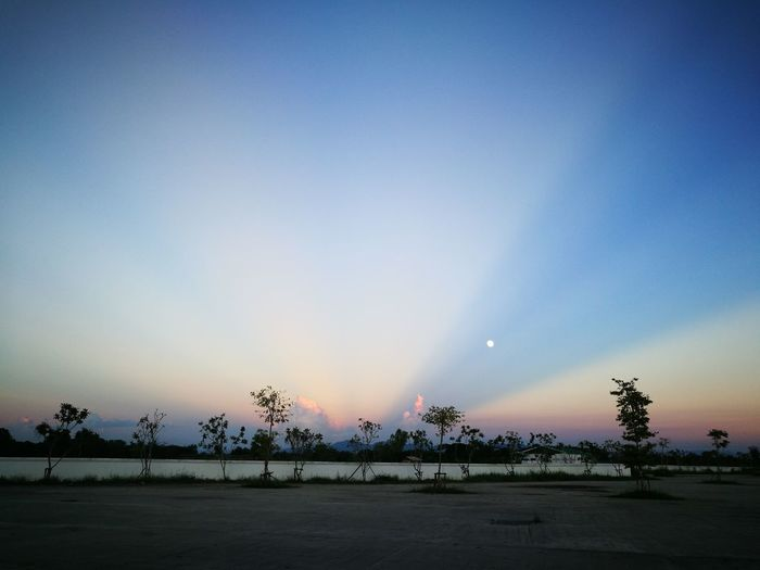 Sky Outdoors Sunset Moon Nature Day Beauty In Nature Landscape No People Lampang | Thailand