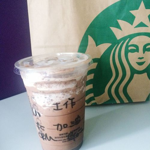 Sweet Delivery Starbucks ❤ Double Chocolate Chips Happy Working Day Feel Warm