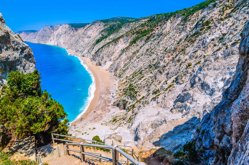 Famous Platia Ammos beach in Kefalonia island, Greece. The beach was affected by the earthquake in the spring of 2014 and it is very difficult to go down on the beach. Clear Sky Cliffs Mediterranean  Spectacular Ammos Beach Beauty In Nature Blue Cephalonia crystal clear Landscape Mountain Nature No People Outdoors PalliKID Pebble Scenics Sea And Sky Seascape Sevenislands Steps And Staircases Tranquility Water Waves