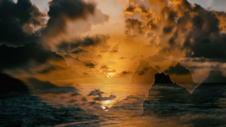 Brazil Double Exposure Fernando De Noronha Abstract Abstract Art Beach Beauty In Nature Cloud - Sky Day Horizon Over Water Nature No People Outdoors Scenics Sea Silhouette Sky Sun Sunset Tranquil Scene Tranquility Water